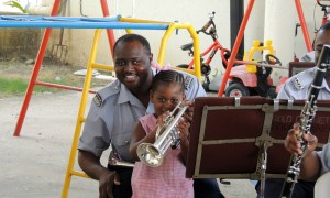 Princess Harewood learns about the trumpet.