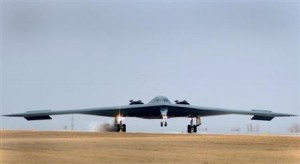 One of three Air Force Global Strike Command B-2 Spirit bombers returns to home base at Whiteman Air Force Base in Missouri