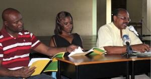 From left: Member of curriculum committee Ken Layne, Head of curriculum committee Kamla Knight and Principal Jeff Broomes.