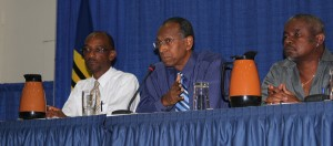 Part of the panel included (from left) Professor Anselm Hennis, Professor David Corbin and Dr. Kenneth George.
