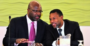 Ronald Jackson in discussion with Attorney General Adriel Brathwaite.