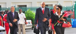 Opposition Leader Mia Mottley leads her troops to Parliament.