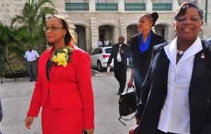 BLP members on their way to do business: Maria Agard, Santia Bradshaw and Cynthia Forde.