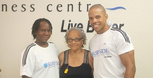 Icilma (centre) with her personal trainer Anita Husbands and Evy Bentham.