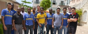 General manager Michael Phillips (third from left) and human resources director, Sean Alleyne (fourth from left), share a photo opportunity with some of the players, team staff and CPL executives staying at the Resort.