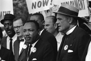 Rev. Martin Luther King Jr. marches with other civil rights leaders and marchers during the 1963 March on Washington for Jobs and Freedom
