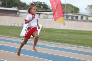 Cuthbert Moore's Krissaria Balantyne sprinting to the finish line in the under-nine 100m.
