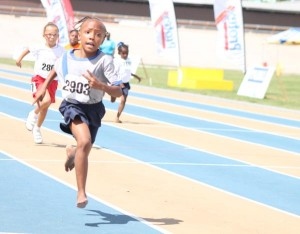 Little Cherish Phillips of Selah Primary cruising to victory in the girls' Under-9 100m.