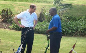 HRH Prince Edward, the Earl of Wessex, chatting with archery coach John Annel.