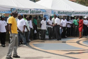 Barbados Water Authority employees who gathered in Independence Square, The City, for the annual World Water Day showcase.