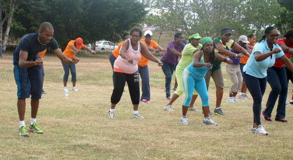 Bending the body  on the socarobics workout.