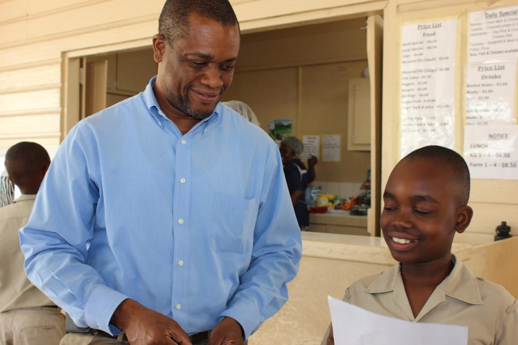 TOP BOY - Yohance Lewis of St Cyprian's Primary could not believe his eyes when his dad O'Reilly presented him with his Common Entrance Exam results this afternoon.