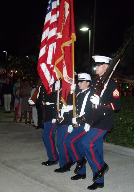 The US Marine Security Guard Detachment during the presentation of colours.