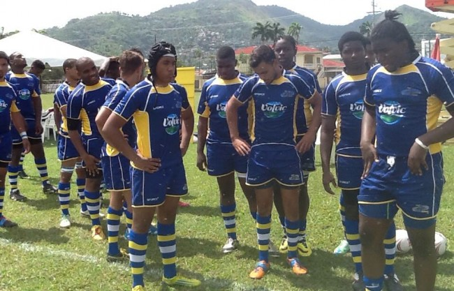 Members of the Barbados team in Trinidad and Tobago before taking the field for kick-off.