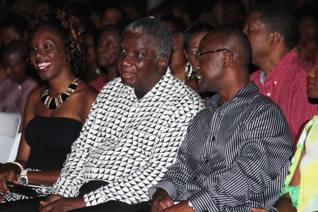 Prime Minister Freundel Stuart (centre) in conversation with Minister of Culture Stephen Lashley during Pan Fusion.