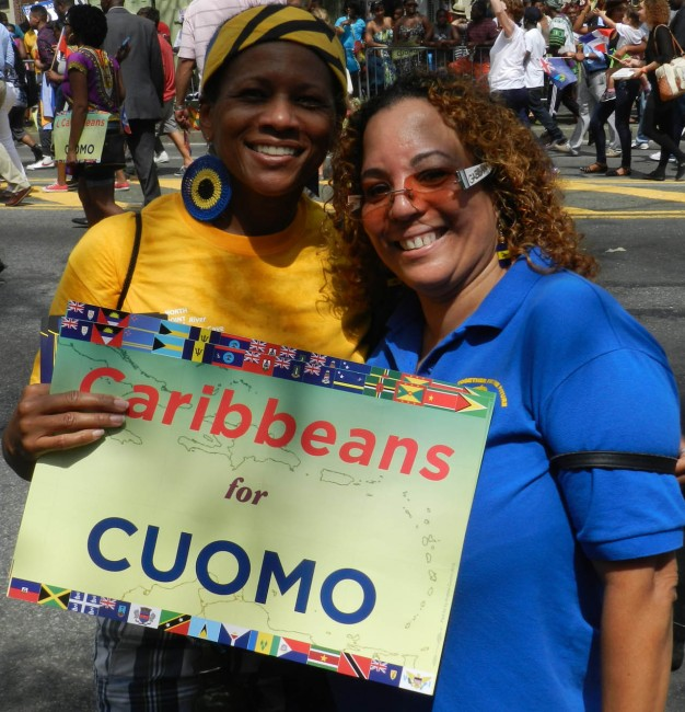 Bajan revellers on Labour Day rooting for New York Governor Andrew Cuomo, who is seeking re-election.
