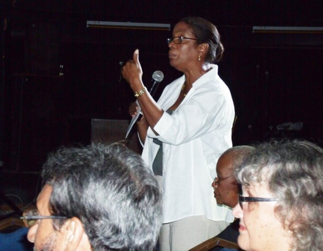 Former St James South candidate Sandra Husbands making a point at last night's assembly.
