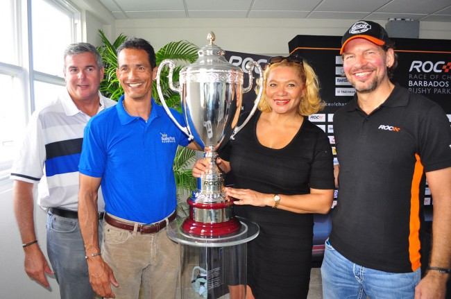 From left, president of the BMF, Andrew Mallalieu; executive chairman of BPCI, Mark Maloney; Petra Roach; and founder of ROC, Fredrik Johnsson, posing with the Henri Toivonen Memorial Trophy, which will be presented to the top individual driver.