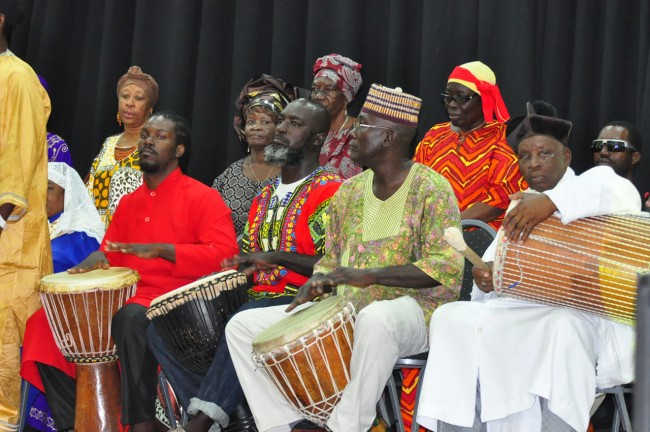 Members of the Sons of God Apostolic Church drumming away.
