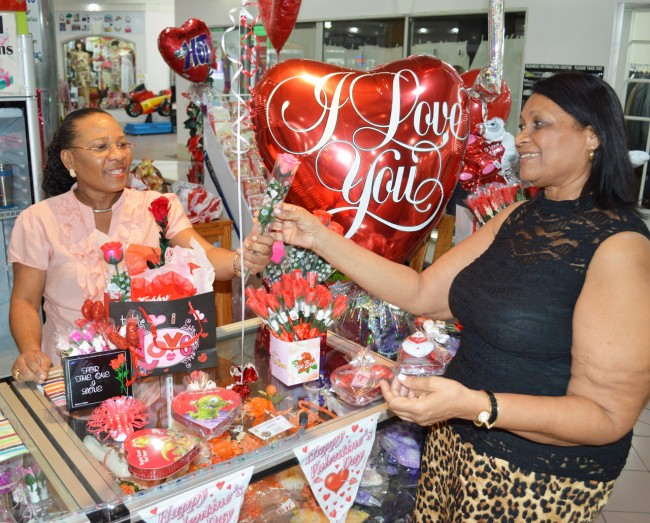Althea Welch (left) of Imperial Balloons helping customer Sylvia Phillips to find that right gift.