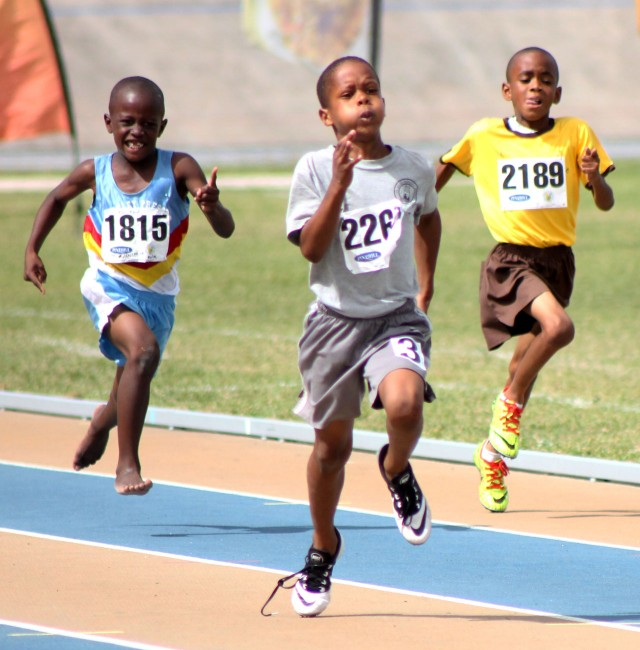 Kevin Webster of St Giles Primary was all about speed and power in the 100m which he won.