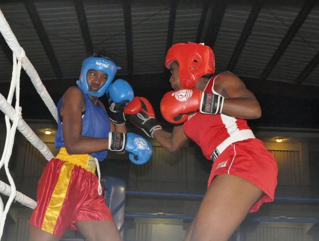 Kimberley Gittens (right) had her way with Trinidad's Kimberley Jackson.