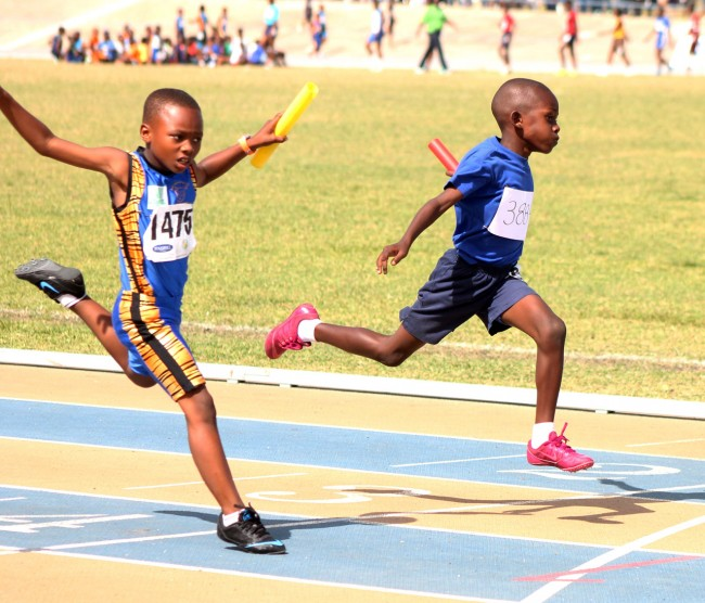 Shamari Addison of St Alban's Primary (right) produced a sensational run to come from behind and win the under-nine boys 4x100m  ahead of West Terrace.