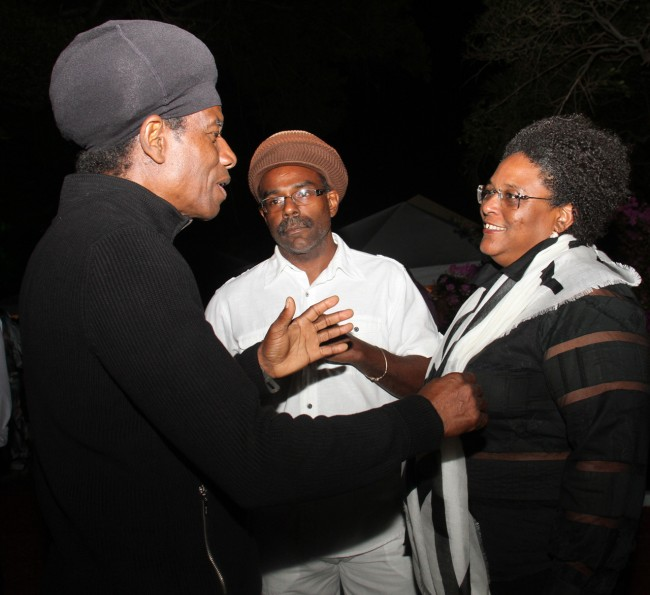 Eddy Grant (left) in conversation with musician Nicholas Branker and Opposition Leader Mia Mottley.