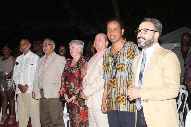 Attorneys David Comissiong (second from left) and Bobby Clarke (second from right), with diplomatic dignitaries, were also in attendance.