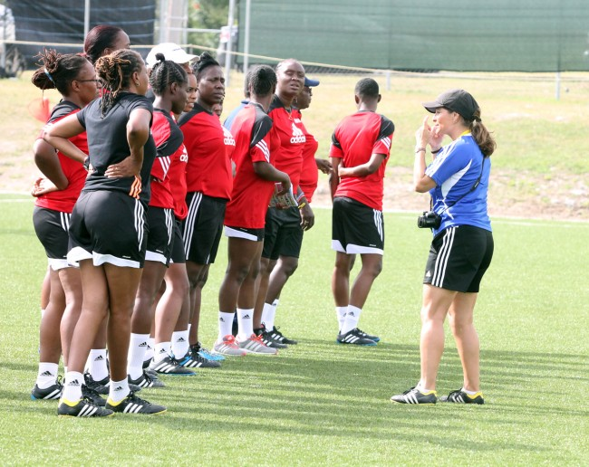 FIFA instructor Andrea Rodebaugh (right) speaking to the coaches today.