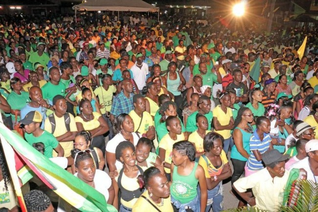 Supporters of Guyana's A Partnership for National Unity and Alliance For Change (APNU-AFC) opposition coalition come out in support of a campaign rally.