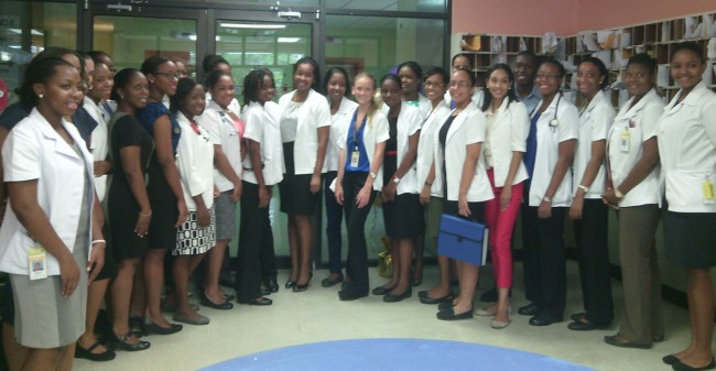 Intern of the Year Dr Alana Francis (centre) and the new set of interns she gave a pep talk to.