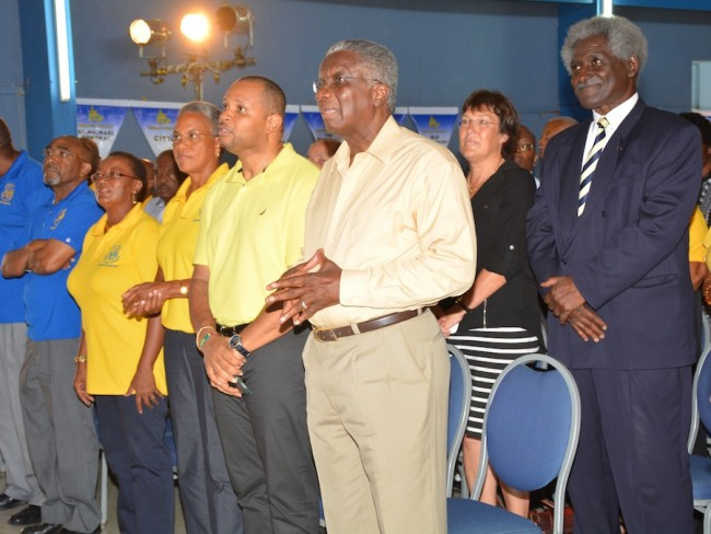Prime Minister Freundel Stuart (fifth from left) with colleagues and US Ambassador to Barbados Larry Palmer (at right) at the DLP annual conference.