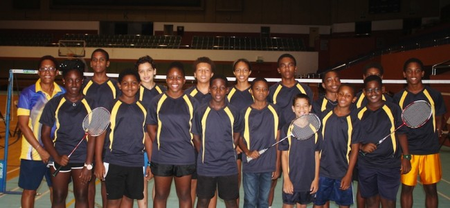 Barbados' junior badminton players are all smiles before leaving for the Dominican Republic. (Pictures by Morissa Lindsay)