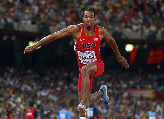 Christian Taylor as he won the triple-jump gold medal.