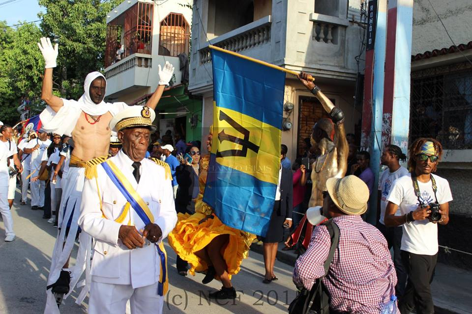 Lord High Admiral Vernon Watson of the Barbados Landship leading the Bajan CARIFESTA contingent in Port-au-Prince, Haiti.