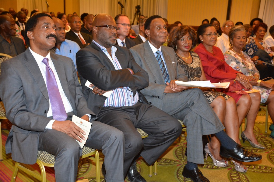 Attorneys General Basil Williams of Guyana (left) and Adriel Brathwaite of Barbados (second left) with Sir Richard Cheltenham (third from left) and wife  at the Dr Lloyd Barnett Lecture.