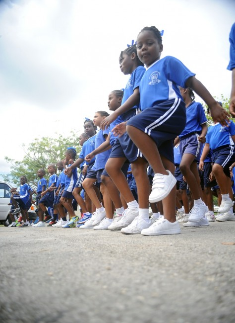West Terrace Primary students in their sneakers commemorating Sneakers Day and Caribbean Wellness Day.