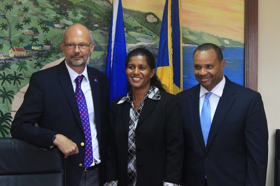 From left, EU's Mikael Barford, Minister of Labour Dr Esther Byer and Minister of Finance Chris Sinckler after today's ceremony.