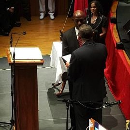President Anthony Carmona presenting the instrument of appointment to Prime Minister Dr Keith Rowley after he took his oath of office today.