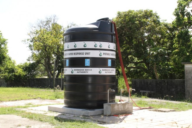 The community water tank at Horse Hill, St Joseph.