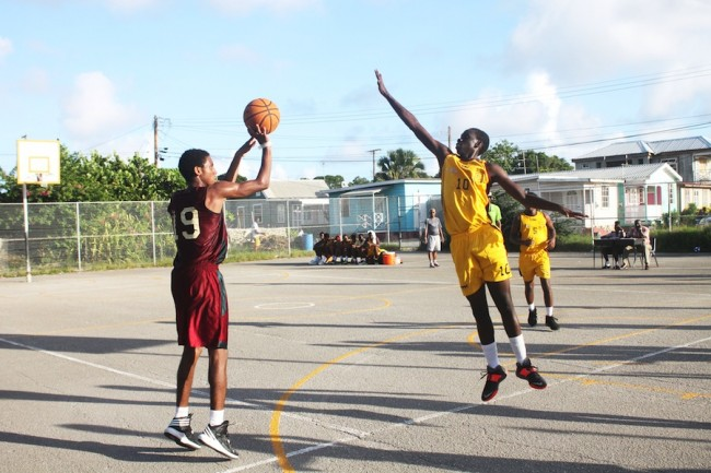 Shaquan Newton shoots for two as Akeil Straker of Ellerslie tries to defend. (Pictures by Morissa Lindsay)