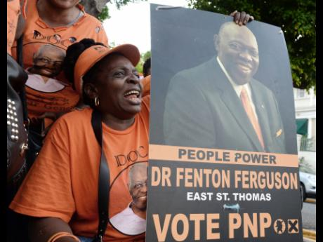 Supporters of Dr Fenton Ferguson showing that they continue to stand behind the former health minister, who now leads the Ministry of Labour and Social Security.