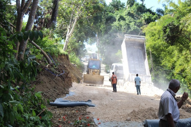 A temporary road has been constructed to ease the plight of White Hill residents.