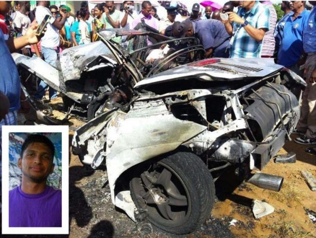 What remained of the BMW after the crash that killed Shiv Hanoman and Neru Bankay (inset).