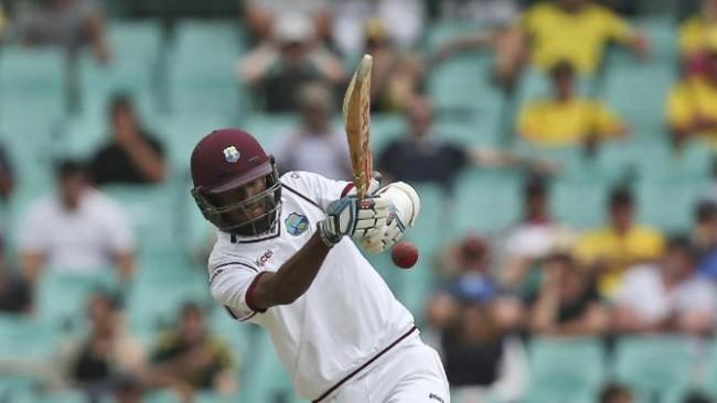 West Indies batsman Kraigg Brathwaite plays a shot during their cricket test match against Australia in Sydney Sunday, Jan. 3, 2016.(AP Photo/Rob Griffith)