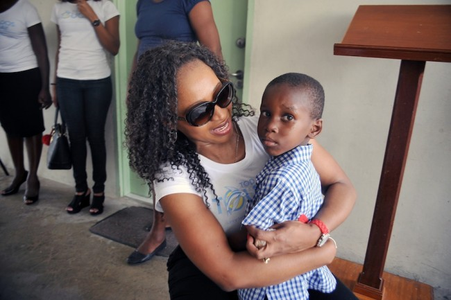 Jesiah Small who celebrated his sixth birthday yesyerday got a special hug and kiss from the CEO.