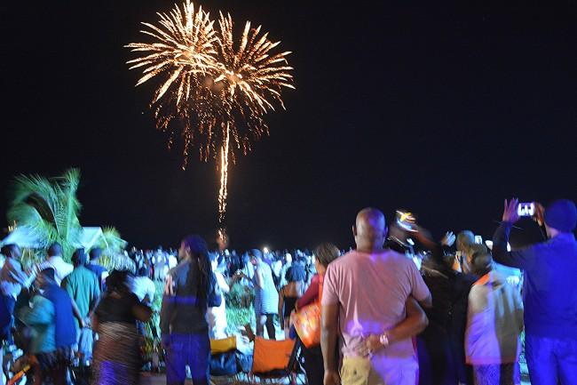 Barbadians enjoying the fireworks from the Bay Street Esplanade.