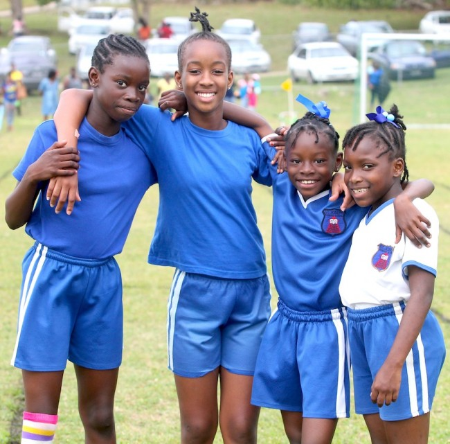 (From left) Brieanna Boyce, Keandra Howard, Lashaunte Sobers and Nakeena Harding won the sprint medley and 4x100m relay for Blue House.