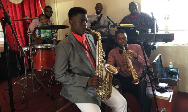 Zukeli Inniss plays  with the Hillaby Church Of The Nazarene Band on Sundays.